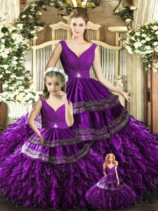 Hot Sale V-neck Sleeveless Ball Gown Prom Dress Floor Length Beading and Embroidery and Ruffles Purple Organza