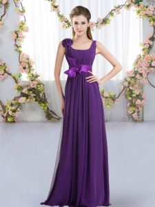 Purple Sleeveless Floor Length Belt and Hand Made Flower Zipper Dama Dress for Quinceanera