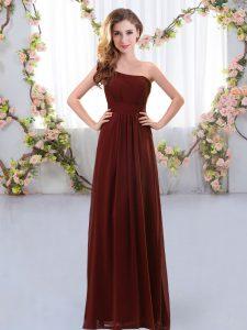 New Style Brown One Shoulder Neckline Ruching Damas Dress Sleeveless Zipper