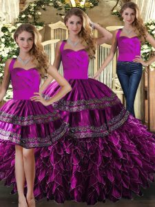 Fuchsia Three Pieces Organza Halter Top Sleeveless Embroidery and Ruffles Floor Length Lace Up Quinceanera Gown