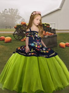 Organza Straps Sleeveless Lace Up Embroidery Little Girls Pageant Dress Wholesale in Olive Green