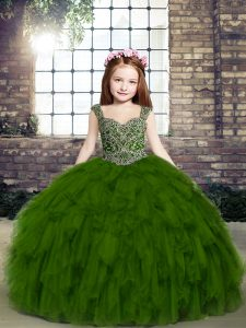 Olive Green Tulle Lace Up Straps Sleeveless Floor Length Little Girl Pageant Gowns Beading and Ruffles