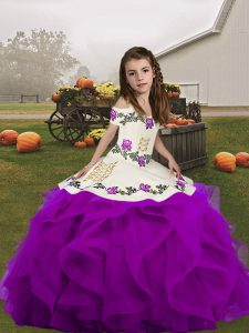 Dramatic Straps Sleeveless Lace Up Evening Gowns Purple Organza