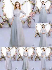 Fantastic Grey Empire Tulle High-neck Half Sleeves Lace and Belt Floor Length Zipper Dama Dress for Quinceanera