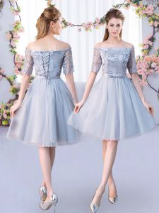 Grey Lace Up Off The Shoulder Lace and Belt Quinceanera Dama Dress Tulle Short Sleeves