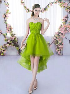 High Low A-line Sleeveless Olive Green Dama Dress for Quinceanera Lace Up