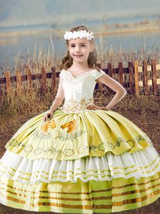 Satin Off The Shoulder Sleeveless Lace Up Embroidery Pageant Gowns in Yellow