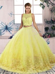 Colorful Yellow Sleeveless Tulle Sweep Train Backless Quinceanera Dresses for Military Ball and Sweet 16 and Quinceanera