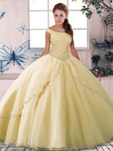 Yellow 15 Quinceanera Dress Tulle Brush Train Sleeveless Beading