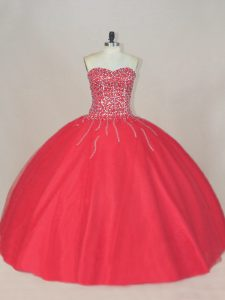 Tulle Sweetheart Sleeveless Lace Up Beading Quinceanera Gown in Coral Red