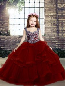 Fitting Sleeveless Lace Up Floor Length Beading and Ruffles Child Pageant Dress
