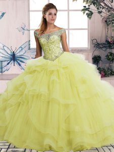 Vintage Yellow Quinceanera Dresses Military Ball and Sweet 16 and Quinceanera with Beading and Ruffles Off The Shoulder Sleeveless Lace Up