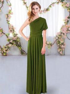 Beautiful Olive Green One Shoulder Neckline Ruching Dama Dress for Quinceanera Sleeveless Criss Cross