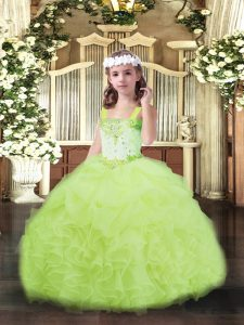 Latest Yellow Green Ball Gowns Beading and Ruffles and Pick Ups Kids Formal Wear Lace Up Organza Sleeveless Floor Length