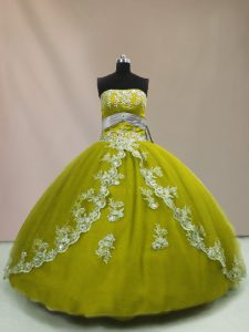 Olive Green Ball Gowns Strapless Sleeveless Tulle Floor Length Lace Up Appliques Sweet 16 Dress