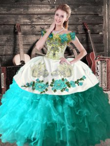 Sleeveless Embroidery Lace Up Quinceanera Gowns