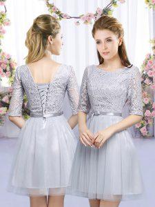 Grey Half Sleeves Lace and Belt Mini Length Vestidos de Damas