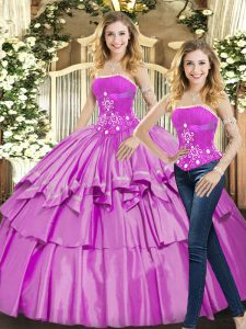 Pretty Lilac Two Pieces Beading 15th Birthday Dress Lace Up Taffeta Sleeveless Floor Length