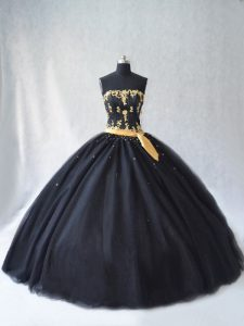 Customized Sleeveless Tulle Floor Length Lace Up Sweet 16 Dresses in Black with Appliques