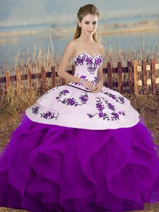 Hot Selling Sleeveless Floor Length Embroidery and Ruffles and Bowknot Lace Up Quince Ball Gowns with White And Purple