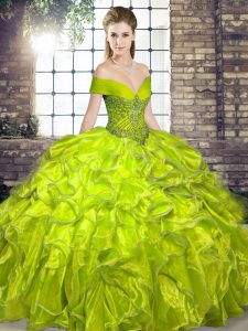 Great Floor Length Lace Up Quinceanera Gowns Olive Green for Military Ball and Sweet 16 and Quinceanera with Beading and Ruffles