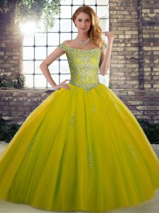 Fabulous Floor Length Lace Up 15 Quinceanera Dress Olive Green for Military Ball and Sweet 16 and Quinceanera with Beading