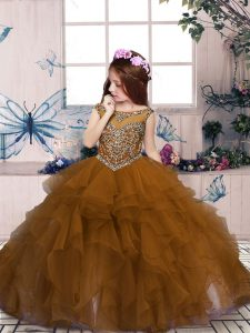 Sleeveless Lace Up Floor Length Beading and Ruffles Little Girls Pageant Gowns