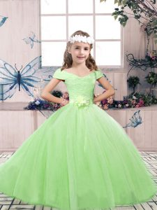 Flirting Off The Shoulder Sleeveless Child Pageant Dress Floor Length Lace and Belt Tulle
