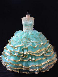 Floor Length Apple Green Ball Gown Prom Dress Organza Sleeveless Ruffled Layers