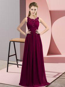Dark Purple Scoop Zipper Beading and Appliques Quinceanera Dama Dress Sleeveless