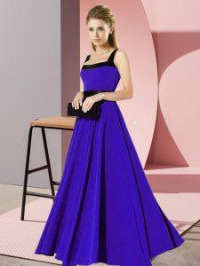New Style Blue Zipper Square Belt Dama Dress for Quinceanera Chiffon Sleeveless