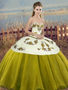 Elegant Sweetheart Sleeveless Sweet 16 Quinceanera Dress Floor Length Embroidery and Bowknot Olive Green Tulle