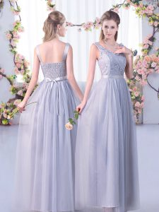 Smart Tulle V-neck Sleeveless Side Zipper Lace and Belt Court Dresses for Sweet 16 in Grey