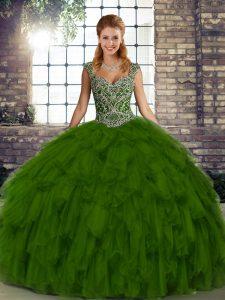Enchanting Beading and Ruffles Sweet 16 Dress Olive Green Lace Up Sleeveless Floor Length