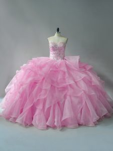 Perfect Organza Sweetheart Sleeveless Lace Up Beading and Ruffles Sweet 16 Dresses in Baby Pink
