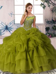Graceful Organza Sleeveless Quinceanera Dress Brush Train and Beading and Pick Ups