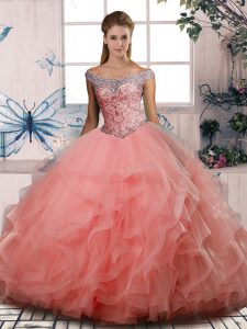 Off The Shoulder Sleeveless Tulle 15 Quinceanera Dress Beading Lace Up