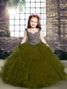 Stylish Sleeveless Lace Up Floor Length Beading and Ruffles Pageant Gowns For Girls