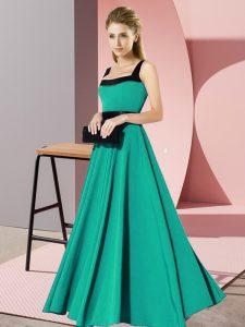 Charming Floor Length Turquoise Dama Dress for Quinceanera Chiffon Sleeveless Belt