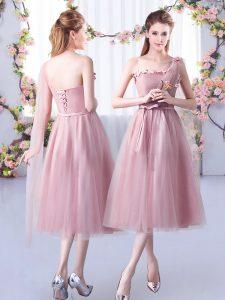 Tea Length Empire Sleeveless Pink Quinceanera Dama Dress Lace Up