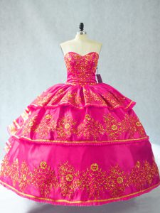 Best Ball Gowns Sleeveless Hot Pink Sweet 16 Quinceanera Dress Lace Up