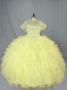 Classical Yellow Sweetheart Neckline Beading and Ruffles Sweet 16 Dress Sleeveless Lace Up