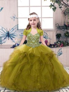 Olive Green Sleeveless Floor Length Beading and Ruffles Lace Up Winning Pageant Gowns