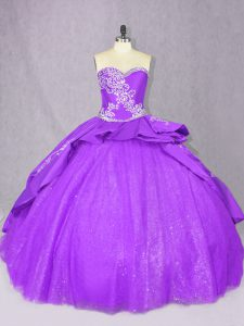 Purple Sleeveless Tulle Court Train Lace Up Sweet 16 Dress for Sweet 16 and Quinceanera