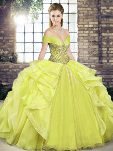 Organza Off The Shoulder Sleeveless Lace Up Beading and Ruffles 15th Birthday Dress in Yellow