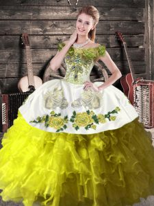 Custom Designed Organza Off The Shoulder Sleeveless Lace Up Ruffles Quinceanera Dress in Olive Green