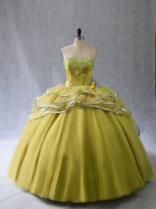 Adorable Olive Green Ball Gowns Tulle Sweetheart Sleeveless Appliques and Ruffles Lace Up Vestidos de Quinceanera Brush Train