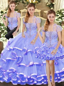Three Pieces Quince Ball Gowns Lavender Strapless Organza Sleeveless Floor Length Lace Up