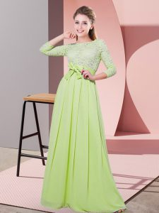 Artistic Scoop 3 4 Length Sleeve Chiffon Dama Dress Lace and Belt Side Zipper