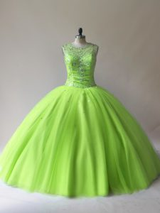 Scoop Sleeveless Lace Up Sweet 16 Quinceanera Dress Tulle